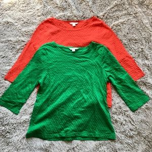Pendleton XL Petite Lot Of Two Shirts Red Green